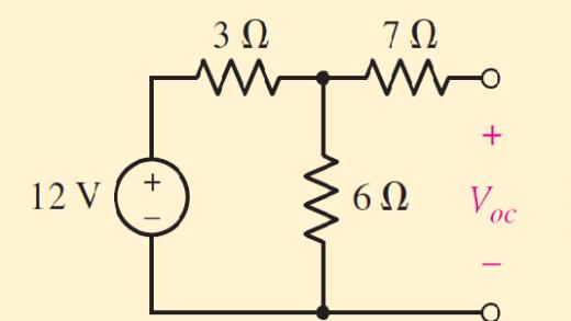 ولتاژ مدار باز در مدار معادل تونن