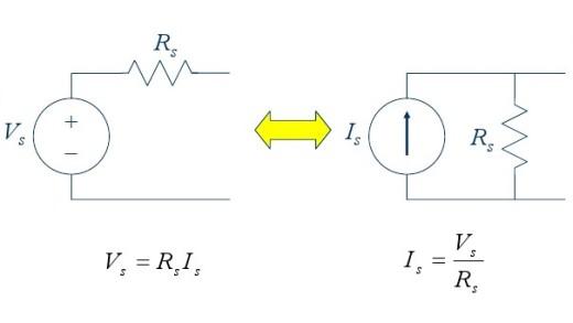 تبدیل منابع در مدارهای الکتریکی، مثال ۲