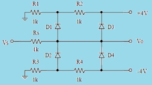 حل مدارهای دیودی، مثال ۱